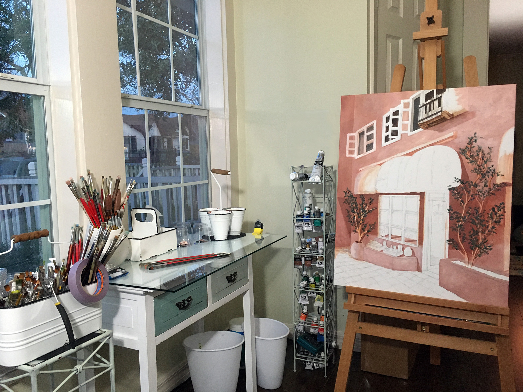in the studio on the easel